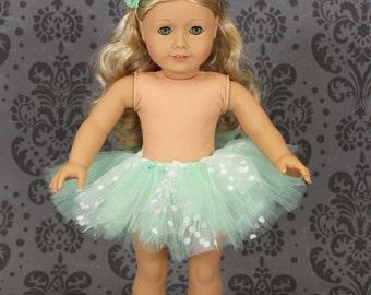 "18"" American Girl Doll Mint Green and White Tutu & Headband - American Girl Tutu - American Girl Clothes"