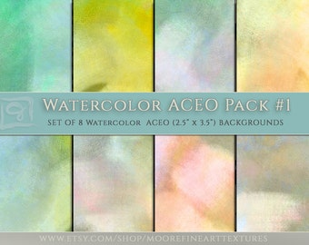 WATERCOLOR DIGITAL PAPER, Aceo Collage Sheet, Photoshop Background, Photoshop Texture, Fine Art Texture, Texture Design, Instant Download