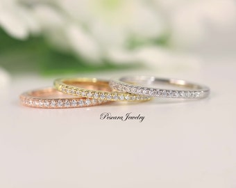 Matching band, Half Eternity Band, Wedding Band, Thin CZ ring band, Micro pave band, stacking bands, Rose Gold, Yellow Gold, Sterling silver
