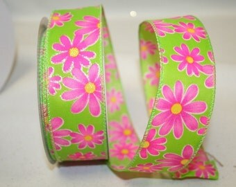 """2.5""""x 10 yds DAISY BRIGHT Wired Edge Ribbon/ lime/ 90821"""