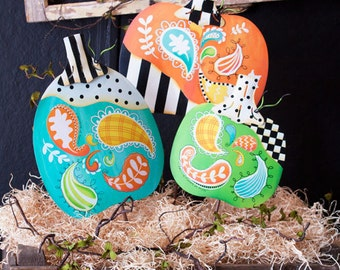 SALE!!!! Paisley Patchwork Pumpkin Trio(Hang or Stake)Wreath Supplies/Fall-Halloween Decor,Paisley Pumpkins/F8064