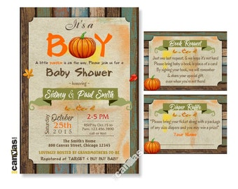 Fall Baby Shower Invitation, Little Pumpkin Shower, It's a Boy, Rustic Wood, Halloween Invitation, Autumn Fall Theme, Shabby Chic BS238