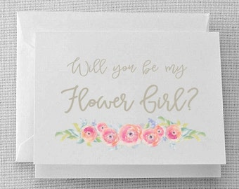 Will you be my Flower Girl? - Water Color Flowers