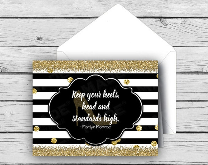 HEELS - Keep your heels, head and standards high Note Card Set, MARILYN MONROE, Stationery, Motivational Cards, Gold Gllitter