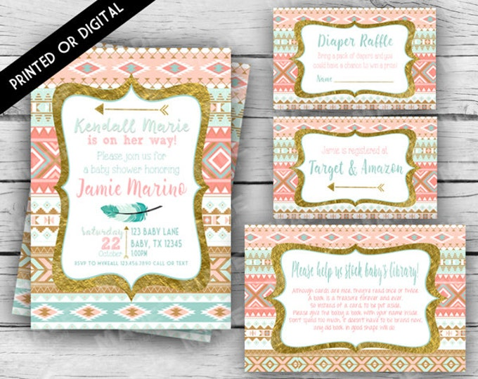 TRIBAL BABY Shower Set, Aztec Baby Shower Invitation Set, Turquoise, Gold, Baby Shower, Party, Stationery