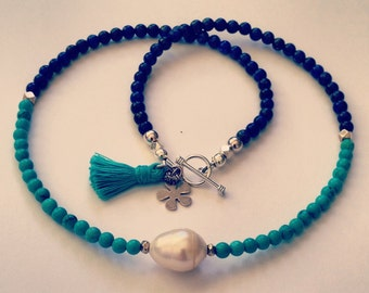 Lapis Lazuli and Turquoise Howlite Necklace with a Baroque Pearl and Hill Tribe Sterling Sterling Beads Sterling Toggle Clasp and Tassle