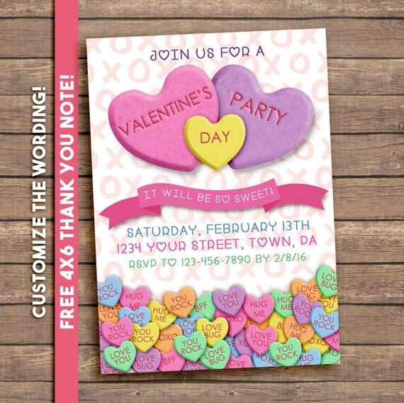 Valentines Party Invitation. Conversation Hearts. Digital Printable.