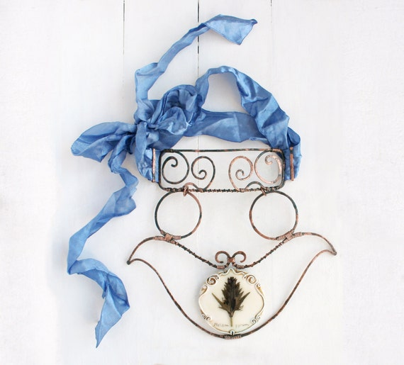 Statement Romantic Necklace With Real Flower And Hand Forged Copper. Big Artisan Bib Choker Necklace. Blue Necklace