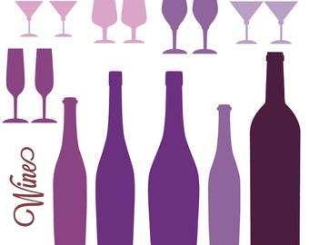 Red Wine Clipart, Red Wine Graphics, Drinks Clipart, Wine Clip Art, Alcohol Clipart, Wine Bottle, Wine Glass, Purple, svg png jpg