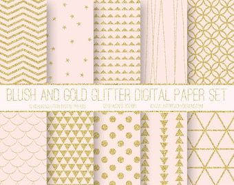 blush and gold glitter modern digital scrapbook paper with geometric patterns