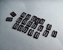 "10 Pairs Black Metal Hooks - 1/2"" = 12 mm - 20 pieces [STLH-BLK12]"