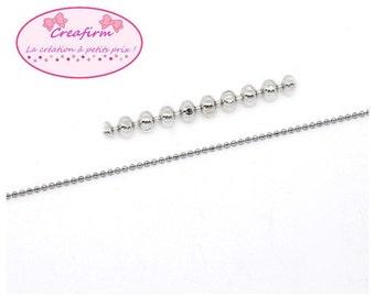 10 m chain 1.5 mm silver grey ball
