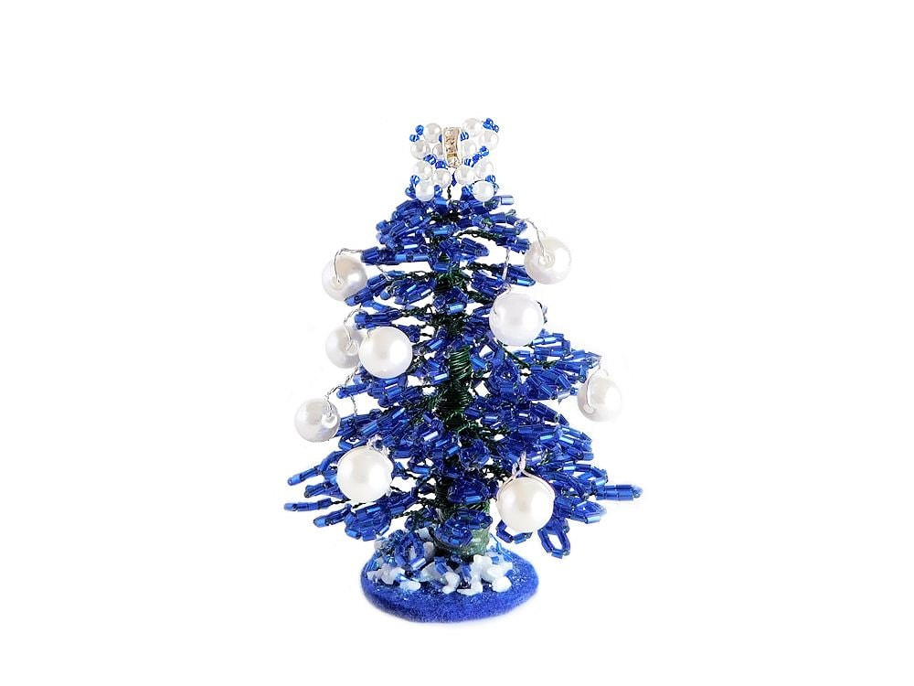 beaded mini blue christmas tree with bow topper. Black Bedroom Furniture Sets. Home Design Ideas