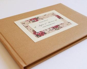 Rustic Rose Guest Book, Wedding Guest Book, Wedding Journal