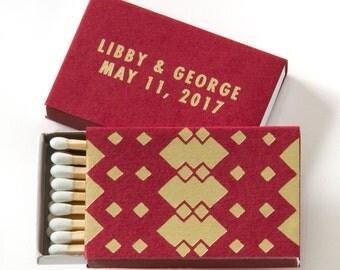 TRIBAL / GEOMETRIC / DIAMOND Matchboxes - Wedding Favors, Wedding Matches, Wedding Decor, Personalized Matches, Custom Matchboxes, Match Box
