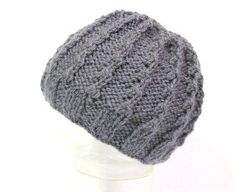 Gray handknitted baby hat, for 3 to 6 months babies
