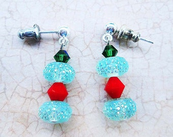Glitter Red and Green Earrings, Sterling Studs, Festive Holiday Earrings, Christmas Gift, Stocking Stuffer