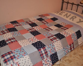 Patchwork Quilt, Personalised Patchwork Quilt, Single Bed Patchwork Quilt, Patchwork Nautical Quilt, Made to Order. Handmade Bedding Boy
