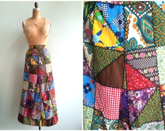 Vintage 1970's Patchwork Maxi Skirt   Size Medium