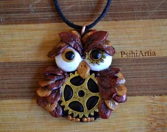 Owl necklace jewelry Steampunk owl Steampunk necklace Owl necklace Polymer clay owl Polymer clay necklace Polymer clay pendant Owl pendant