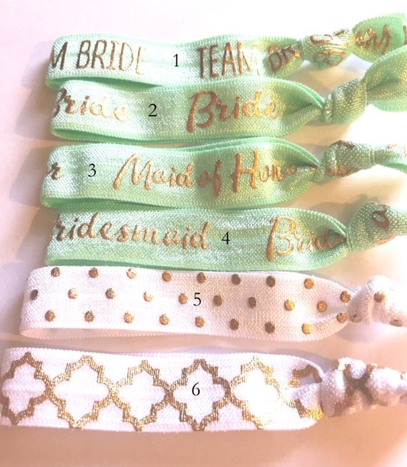 Choose Your Own-Mint Green Bridal/Bridal Party Hair Tie Set-Pick 6 hair ties