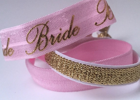 Pink and Gold Bride Hair Tie Set