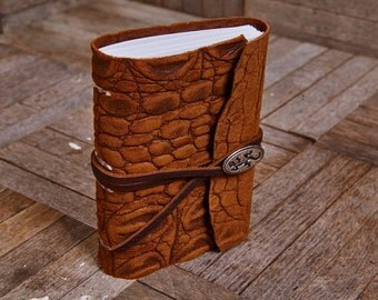 Tan Leather Wrap with Lizard Button, Small Book 112 Blank Pages