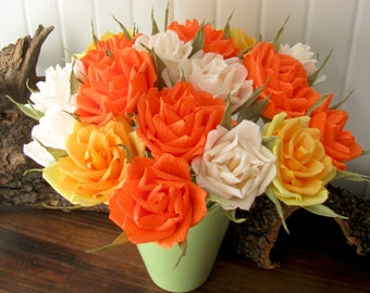 Paper flower weding roses, Crepe paper flower, Paper roses, Wedding centerpiece, Orange rose, Yellow rose, Ivory rose, Flower centerpiece