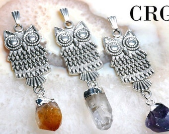 Antiqued Silver Plated OWL pendant with CRYSTAL DANGLE - amethyst - citrine - quartz - (PT172)