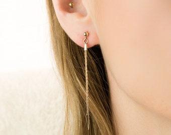 Gold Chain Earrings, long gold earrings, minimal long earrings, gold line earrings stud long earrings modern jewelry delicate long earrings