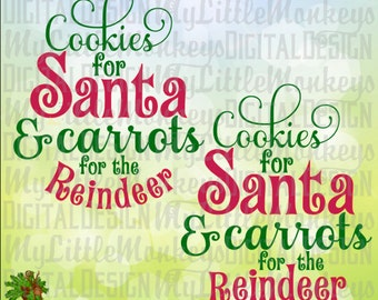 Cookies for Santa Christmas & Carrots for the Reindeer Design Digital Clipart and Cut File Instant Download SVG EPS DXF Png Jpeg formats
