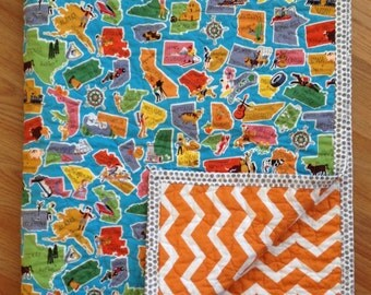 Modern quilt, baby quilt, toddler quilt, gender neutral quilt, childrens lap quilt, United States quilt, chevron quilt, geography, orange
