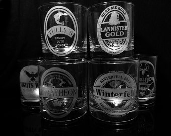Game of Thrones Rock Glass Set of 6 - House Stark - House Lannister - House Baratheon - House Greyjoy - House Tully - Night's Watch