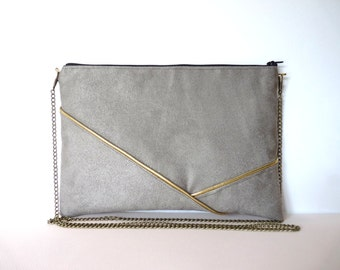 Pouch, shoulder bag grey and gold graphics