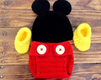 Crochet Mickey Mouse Infant set - Hat, Diaper Cover, Booties - Size 0-3M