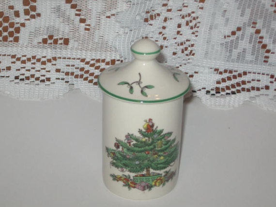 Spode Christmas Tree Green Trim Spice Jar With Lid/Spode