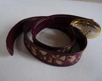 belt monogrammee CHRISTIAN DIOR - bordeaux/beige - size 75