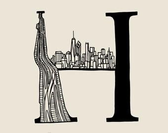 New York - Alphabet - H - Highline and Horizont - Digital print - Original illustration - 210x210mm or 150x150mm