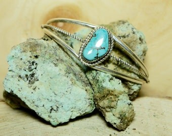 Native American Sterling Silver and Turquoise Bracelet