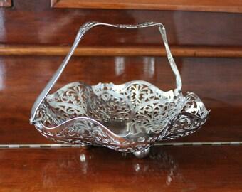 Silver Filigree Basket,  Electroplate EPNS,  F.H.S. England rancis Howard,  Large Silver Basket with Handle, Bridal Serving Fruit Basket