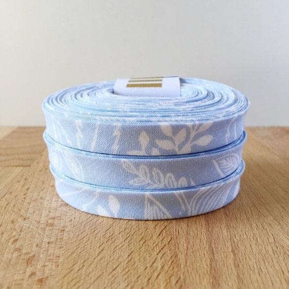 "Bias Tape- Cotton + Steel Rifle Paper Co Les Fleurs Queen Anne Light Blue cotton 1/2"" double-fold binding- 3 yard roll"