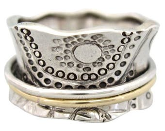 """Energy Stone """"SUN WORSHIP"""" Sterling Silver Meditation Spinning Ring with Brass and Silver Spinners  (Style# US14)"""