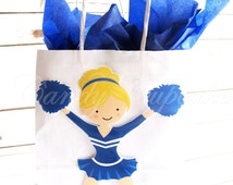 BLUE CHEERLEADER PARTY Bag, Goody Bag, Favour Bag with Tissue Paper, Cheerleader Gift Bag, Cheerleader Party