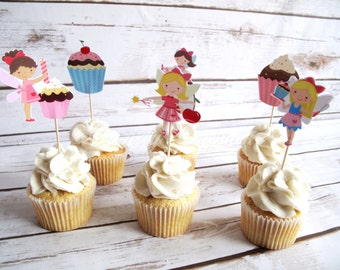 12 Set Cupcake Fairy Cupcake, Cake, Toppers, Picks, Party Picks DOUBLE SIDED