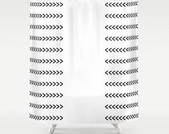Optic White Black Arrows Shower Curtain Arrows Shower Curtain Black White Print Shower Curtain Contemporary Shower Curtain