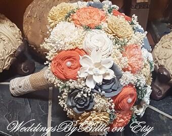 Sola Bouquet Paprika Orange Silver Gray Bouquet, Burlap Lace,Alternative Bouquet,Rustic,Bridal Accessories,Keepsake Bouquet,Wedding Bouquet