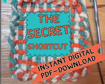 The Secret Shortcut for using a Potholder Weaving Loom, PDF only, Potholder instructions, speedy method that cuts your weaving time in half.
