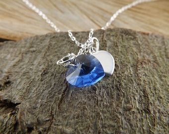 Sapphire Crystal birthstone necklace, september birthstone jewellery,valentine jewellery