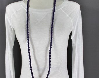 """Purple super extra long beaded necklace 44"""" long double wrap strand"""