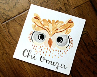 Chi Omega Watercolor Owl